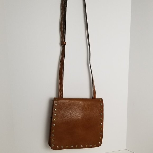 Patricia Nash Handbags - PATRICIA NASH Brown Studded Leather Crossbody Bag
